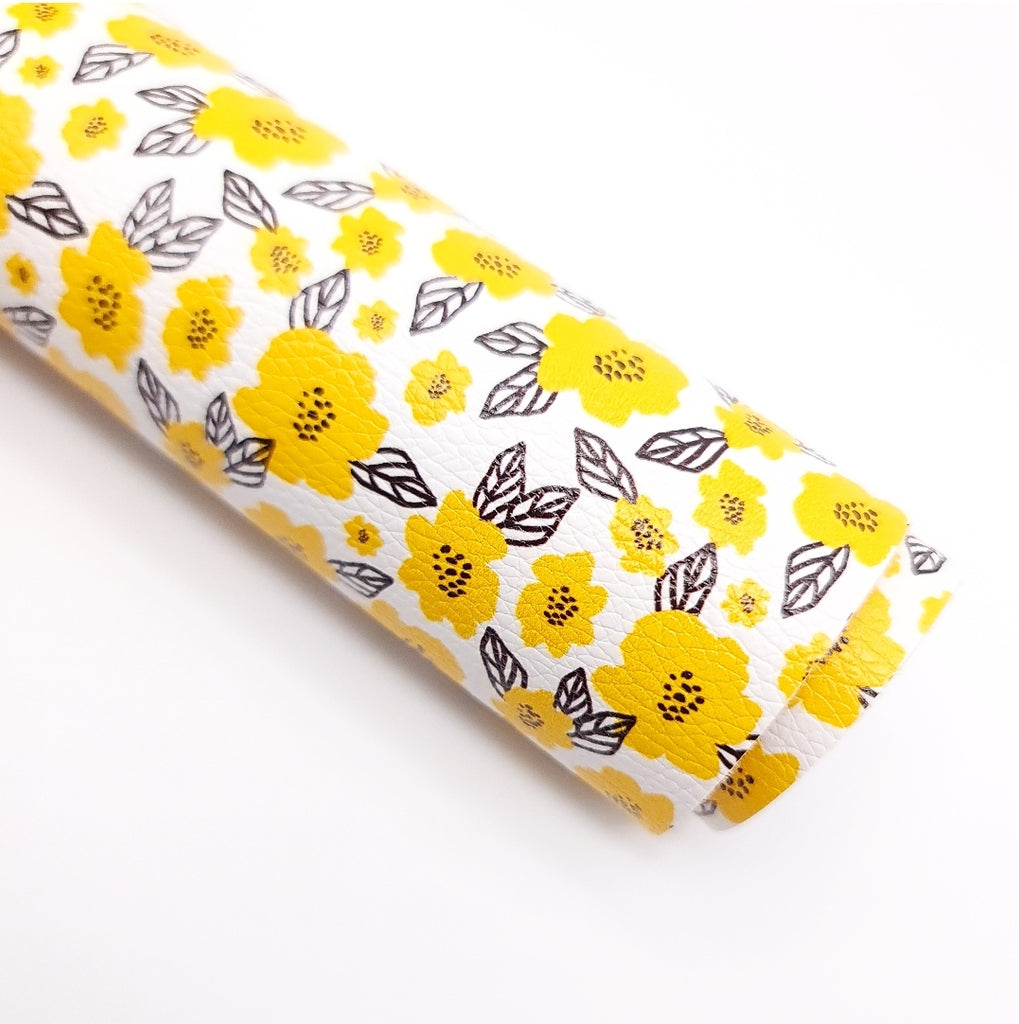 Yellow Flower Litchi Leatherette - Jolif The Craft Shop