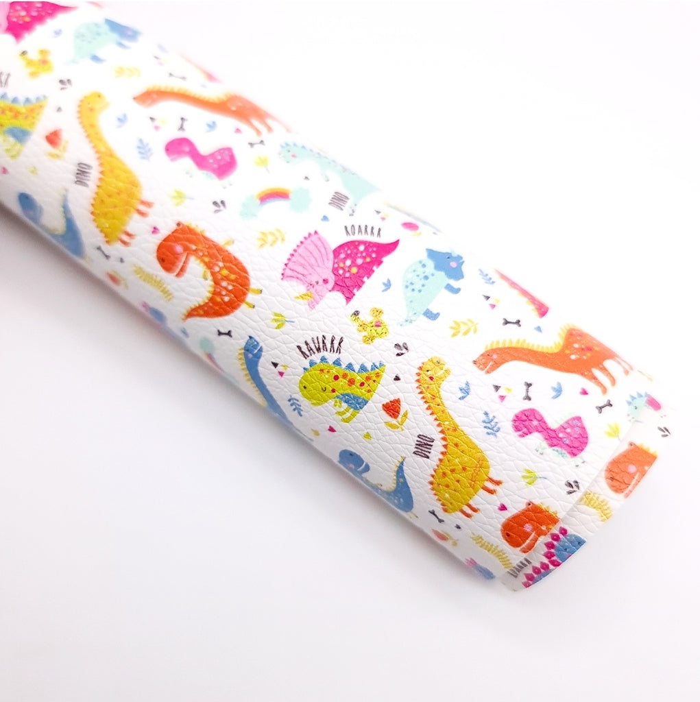 Rainbow Dino Litchi Leatherette - Jolif The Craft Shop