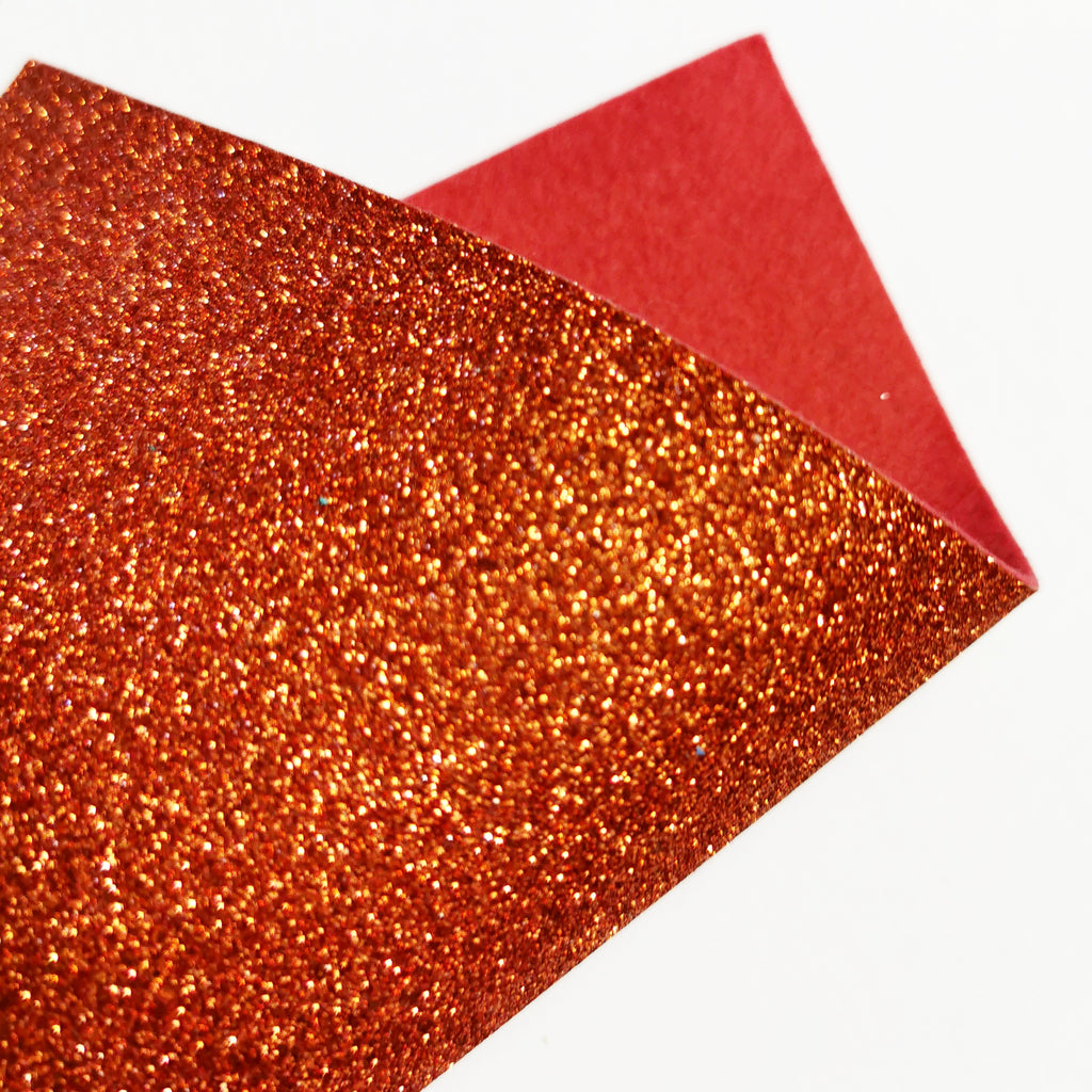 Copper Orange Glitter Felt
