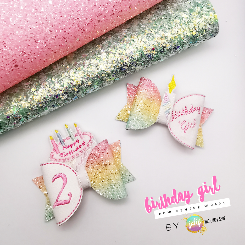 Birthday Girl Bow Centre Wraps - Jolif The Craft Shop