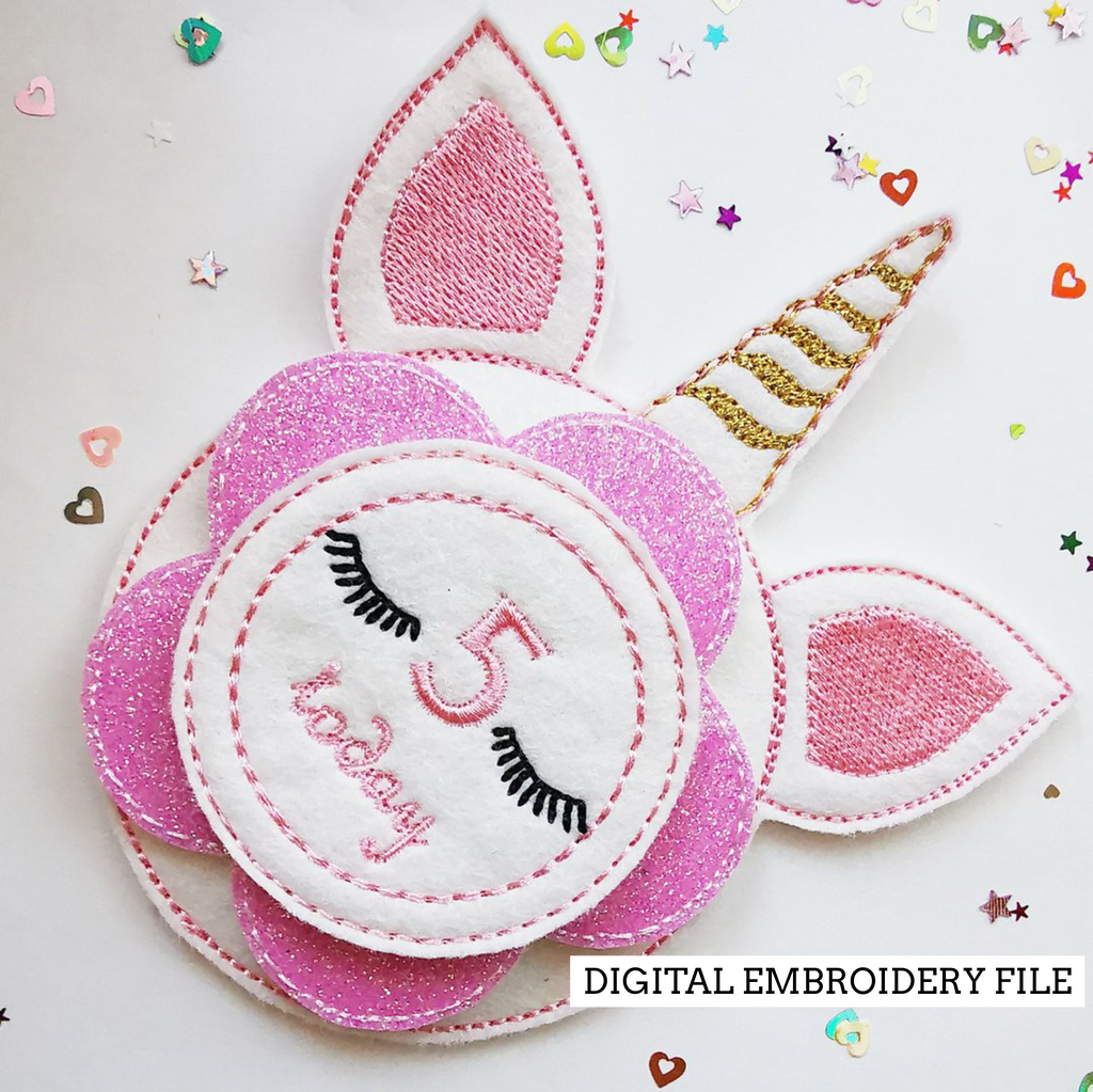 Unicorn Birthday Badge Embroidery File - Jolif The Craft Shop