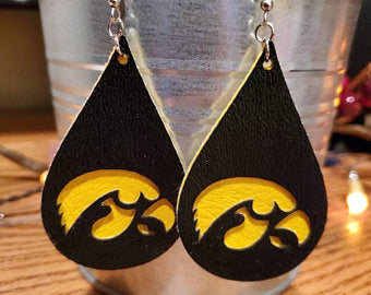 Handmade Lightweight Iowa Faux Leather Earrings FREE SHIPPING Hawkeyes