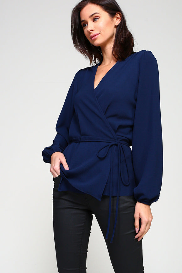 Navy Crepe Solid Wrap Top