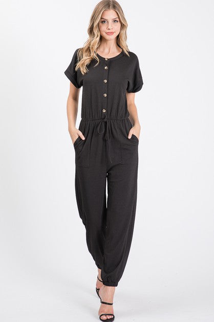 Solid knit button down jumpsuit