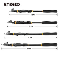 Enkeeo 1.8m-2.7m Carbon Fiber Telescopic Fishing Pole
