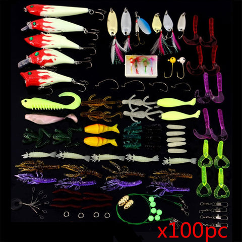100Pc Set Mixed Fishing Lure Bait Tackle & Tackle Box