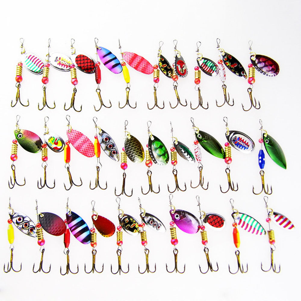 30pc Lot Crank Hook Wobblers Spinner Artificial Baits Fishing Lures