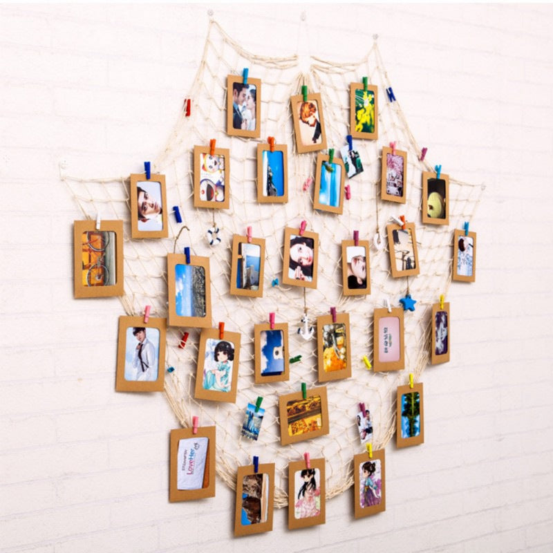Fishing Net Wall Photo Hanging display with 40 Clips