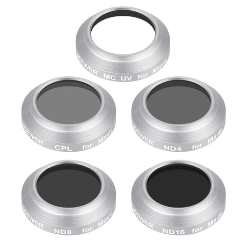 Silver Aluminum Alloy Frame Mixed Filter Kit for DJI Mavic Pro (5 Pieces)