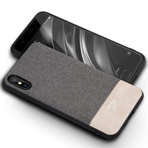 Stylish Luxury Cloth Texture Shockproof Silicone Edge Phone Case for iPhone X