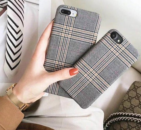 Luxury Plaid Cloth Phone Case For Apple iPhone 6/7/8/X