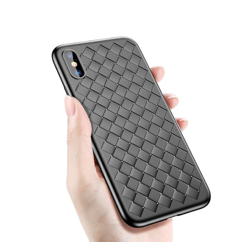 Luxury Ultra Thin Matte Grid Pattern Soft Silicone Protective Case For iPhone X