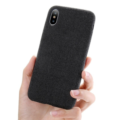 Luxury Cloth Texture Ultra Soft TPU Silicone Cover Case For iPhones