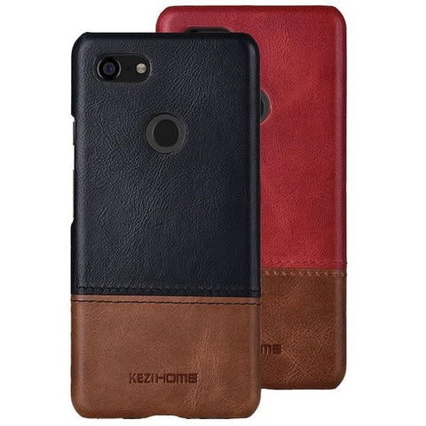Luxury Two Color Genuine Leather Phone Case For Google Pixel 3 / 3XL