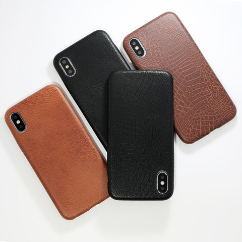 Soft Back Leather Crocodile Pattern Skin Phone Case for iPhones