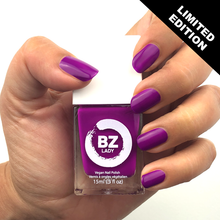 Load image into Gallery viewer, Vegan nail polish neon purple BZ Lady Brasilia