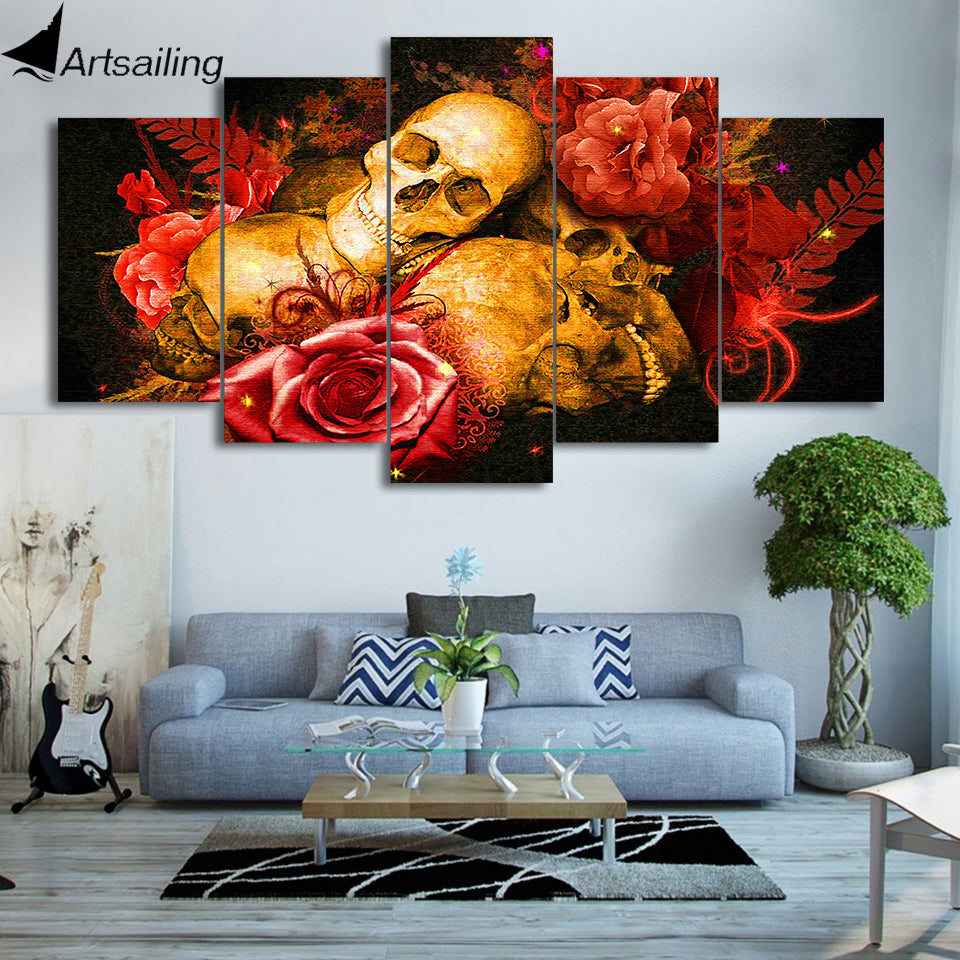 Skull painting red rose wall pictures
