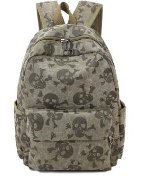 Skull Canvas Large Capacity Travel Backpack 649c90a7f5a82