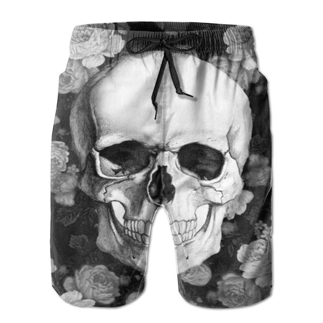 Summer Male Skull Print Sandblasting Short Pants Fashion Mens Casual Sportwear Beach Shorts Man+man Socks Board Shorts