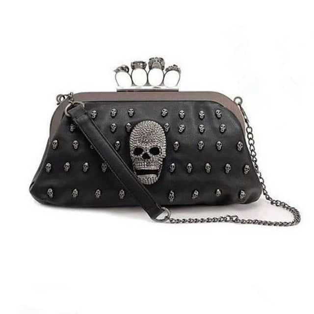 Skull Solid Women s Clutch Bag Leather 55e6cd879bed7
