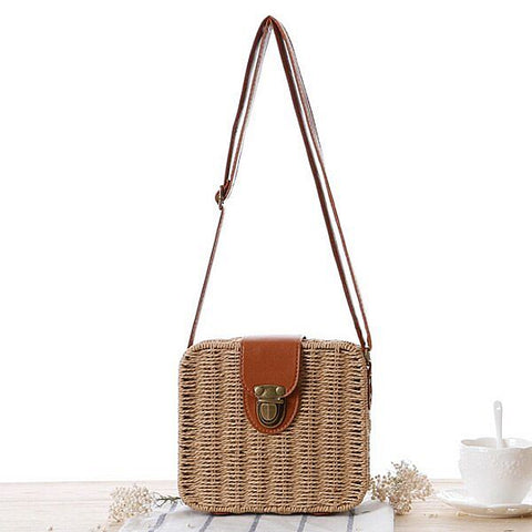 Handwoven Summer Rattan Crossbody Bag