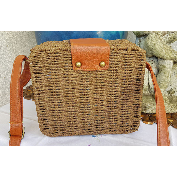 Handwoven Summer Rattan Crossbody Bag - Chocolate