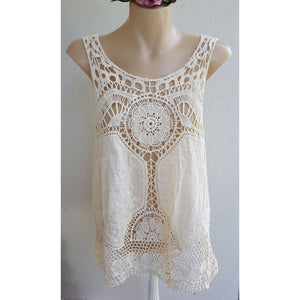 Boho Cotton and Crochet Tank