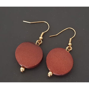 Grace Wooden Disc Earrings