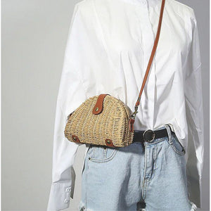 Handwoven Summer Rattan Semi Circle Bag