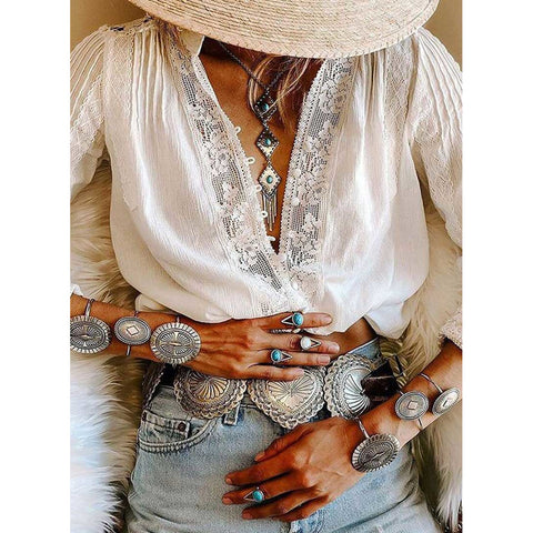 Bohemian Inspired White Cotton Shirt