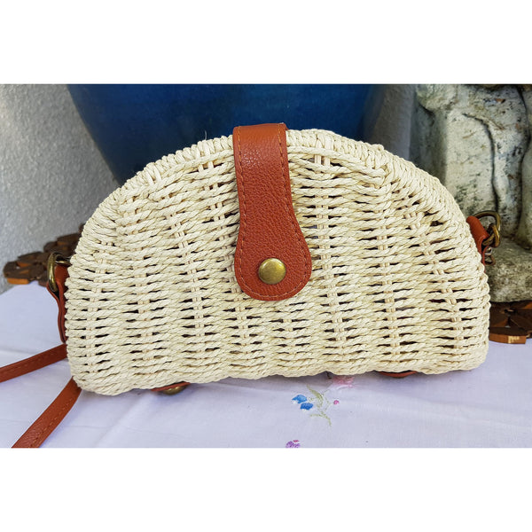 Handwoven Summer Rattan Semi Circle Bag - Natural