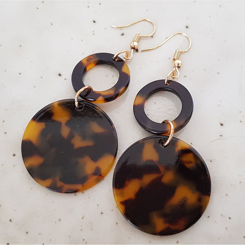 Double Drop Tortoiseshell Earrings