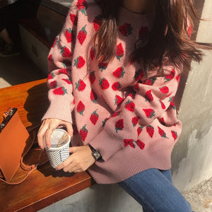 Pink Strawberry Sweater