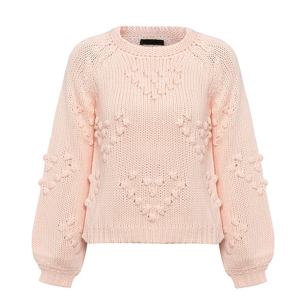 Pink Pompom Heart Sweater