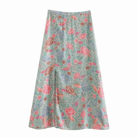 Floral A-Line Skirt with Split