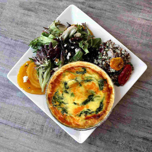 Spinach Quiche w/Salad and Side Dish (Veggies)