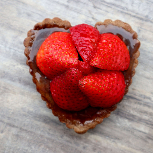 Heart Shaped Strawberry Chocolate Individual Tart (V)