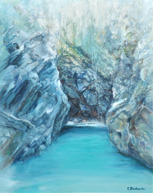 Plemont Cave - Original Oil on Canvas