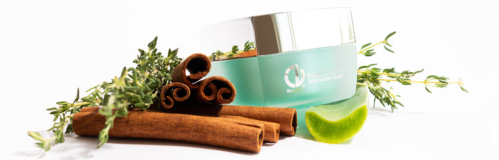 Christine Valmy natural skin care product on top of natural ingredients such as thyme, cinnamon and aloe vera
