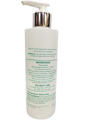 Back of All-Natural Hand Sanitizing & Conditioning Gel Bottle