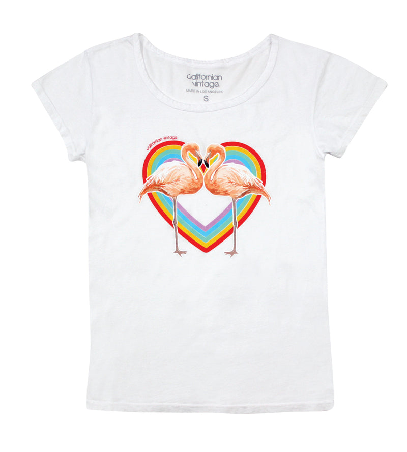 White Heart Flamingo Tee