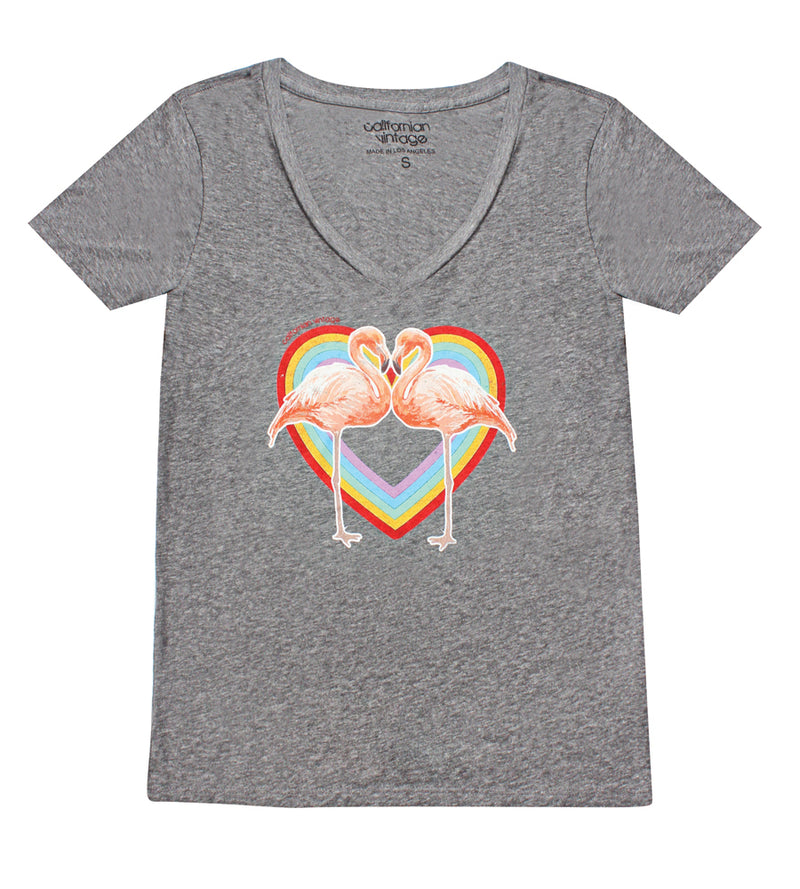 Midnight Flamingo Heart V-Neck Tee