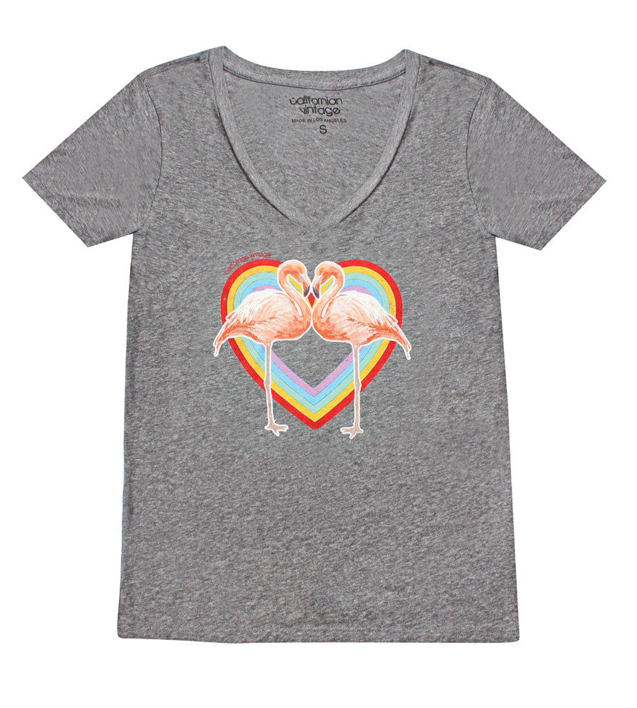 Heather Grey Flamingo Heart V-Neck Tee