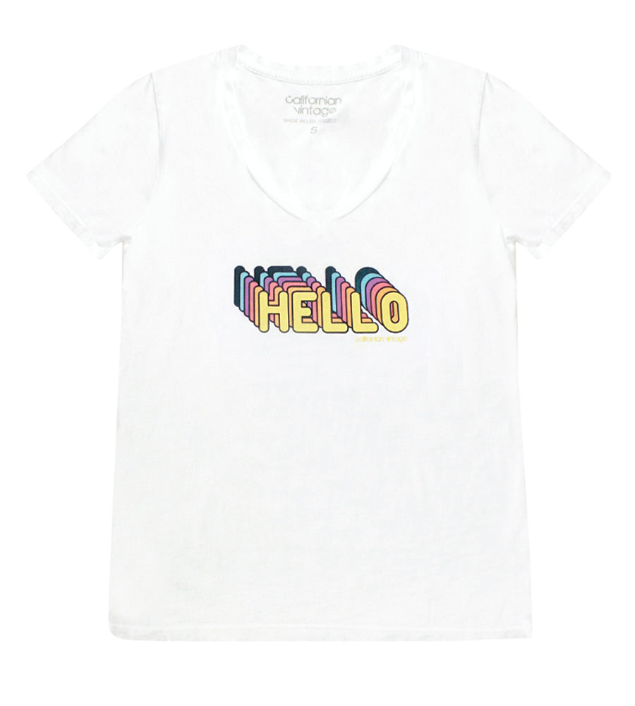 White Hello V-Neck Tee