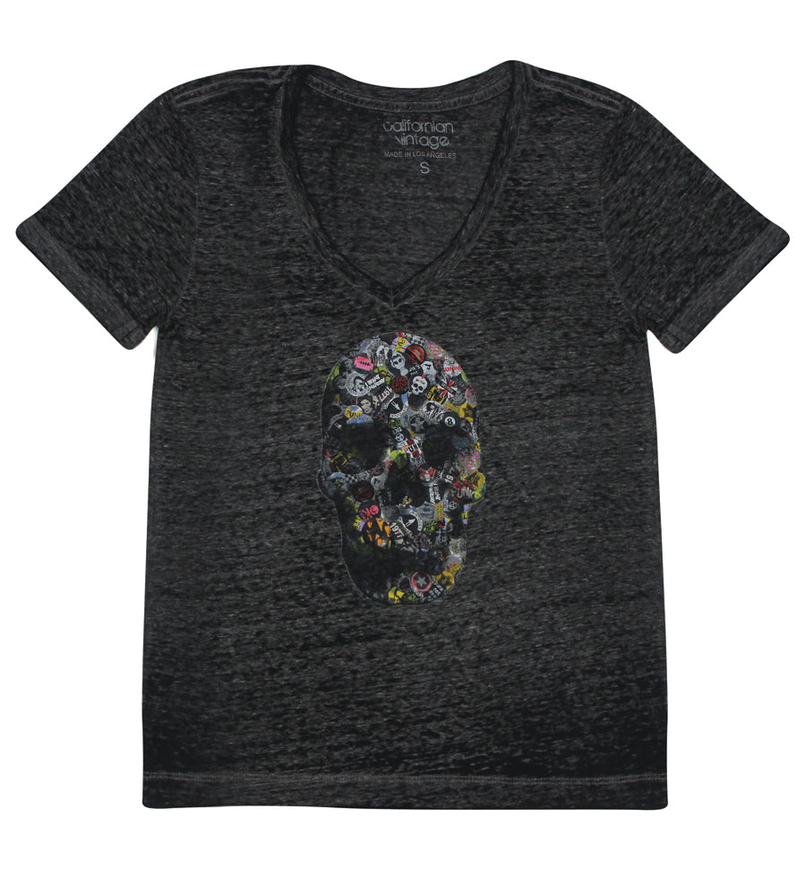 Pinskull V-Neck Tee Burnout