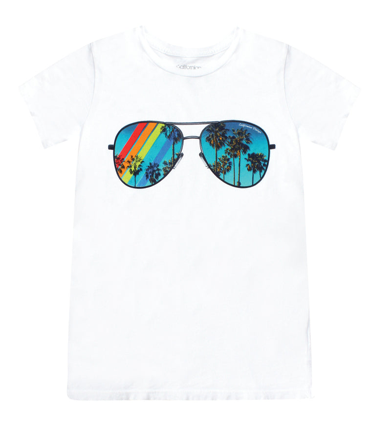 Sunglasses Crew Neck White Tee