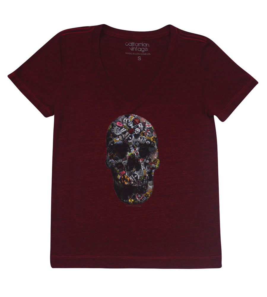 Wine Pinskull V-Neck Tee