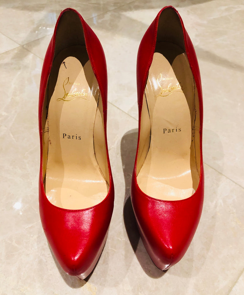 Christian Louboutin Daffodile Red Leather Platform Pumps SZ 38.5