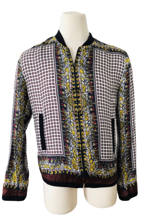 Dolce & Gabbana Printed Silk ZIP Jacket Sz XL