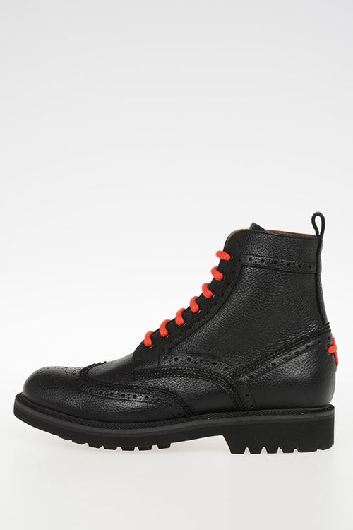 Givenchy Wing Tip Black Leather Combat Boots Sz 12/45